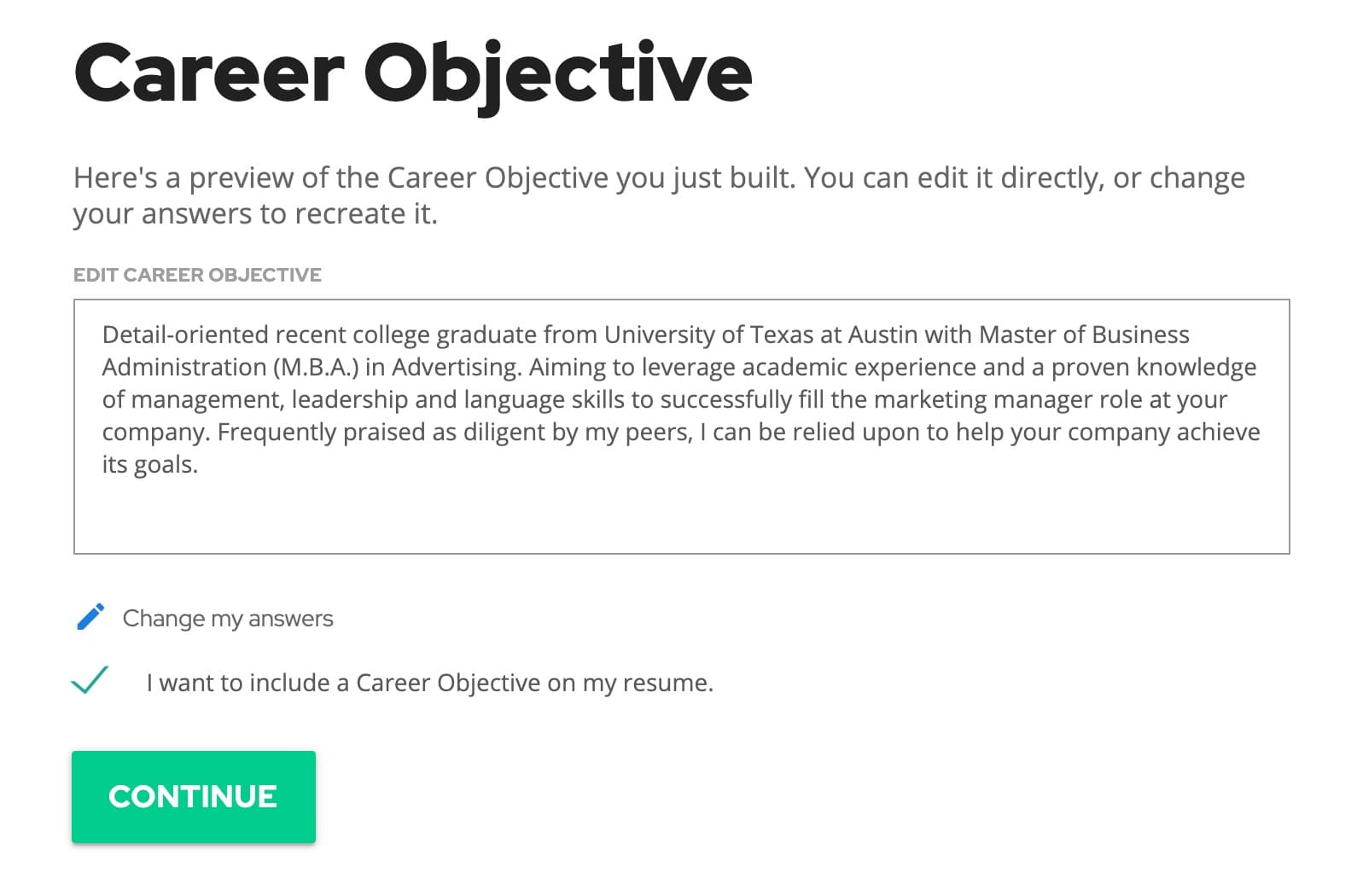 Career objective graphic