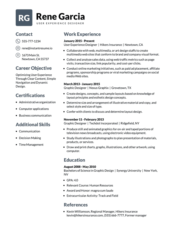 Resume Templates Instant Resume